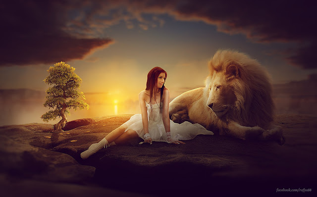 Photo Manipulation Girl & Lion